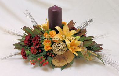 Inspired Designs Fall Centerpiece With Candle(s) from Bakanas Florist & Gifts, flower shop in Marlton, NJ