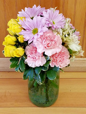 Spring Mason Jar Arrangement from Bakanas Florist & Gifts, flower shop in Marlton, NJ
