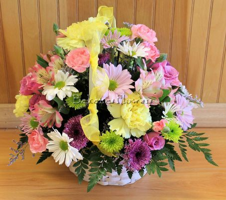 Our Bright & Cheery Basket from Bakanas Florist & Gifts, flower shop in Marlton, NJ