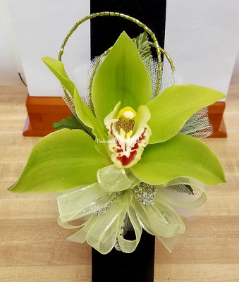 Premier Collection Cymbidium Orchid Wristlet from Bakanas Florist & Gifts, flower shop in Marlton, NJ