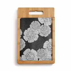 Black and White Floral Wood & Glass Cutting Board Set from Bakanas Florist & Gifts, flower shop in Marlton, NJ