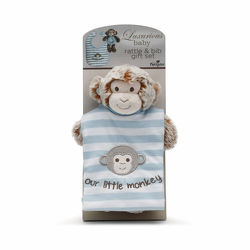 Marcell or Macey Monkey Rattle & Bib Set from Bakanas Florist & Gifts, flower shop in Marlton, NJ