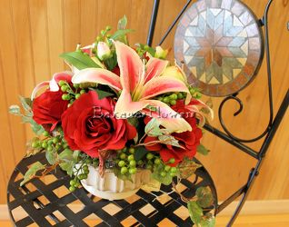 Roses & Lilies Silk Arrangement from Bakanas Florist & Gifts, flower shop in Marlton, NJ