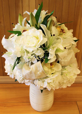 White Lilies, Hydrangea & Roses Silk Arrangement from Bakanas Florist & Gifts, flower shop in Marlton, NJ