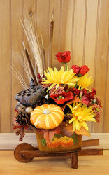Fall Wheelbarrow Silk from Bakanas Florist & Gifts, flower shop in Marlton, NJ