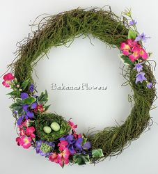 Moss Green Spring Wreath from Bakanas Florist & Gifts, flower shop in Marlton, NJ