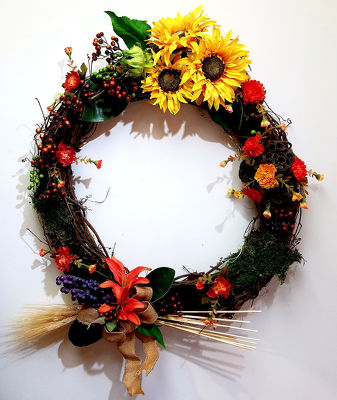 Fall Sunflower Wreath from Bakanas Florist & Gifts, flower shop in Marlton, NJ
