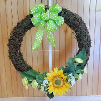 Green Sunflower Wreath  from Bakanas Florist & Gifts, flower shop in Marlton, NJ