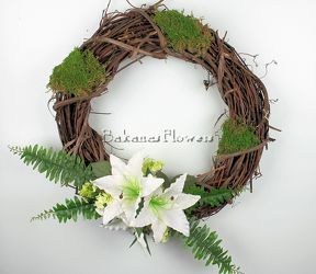 White Lily Silk Wreath from Bakanas Florist & Gifts, flower shop in Marlton, NJ