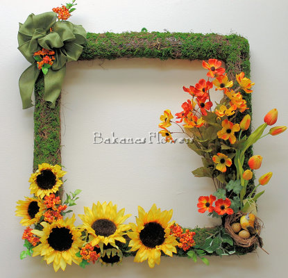 Sunflower Square Wreath from Bakanas Florist & Gifts, flower shop in Marlton, NJ
