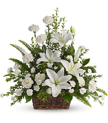 Peaceful White Lilies Basket from Bakanas Florist & Gifts, flower shop in Marlton, NJ