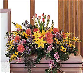 Blooming Glory Casket Spray from Bakanas Florist & Gifts, flower shop in Marlton, NJ