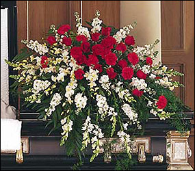 Cherished Moments Casket Spray from Bakanas Florist & Gifts, flower shop in Marlton, NJ