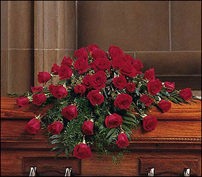 Blooming Red Roses Casket Spray from Bakanas Florist & Gifts, flower shop in Marlton, NJ