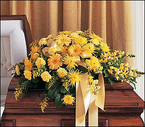 Brighter Blessings Casket Spray from Bakanas Florist & Gifts, flower shop in Marlton, NJ