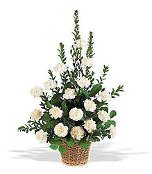 White Simplicity Basket from Bakanas Florist & Gifts, flower shop in Marlton, NJ