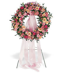 Respectful Pink Wreath from Bakanas Florist & Gifts, flower shop in Marlton, NJ